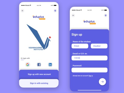 Sign Up - VIT Pune's Eduplus app vitpune dailyui illustration design ui app