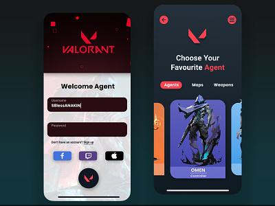 Valorant App ui colours valorant dailyui icon design app