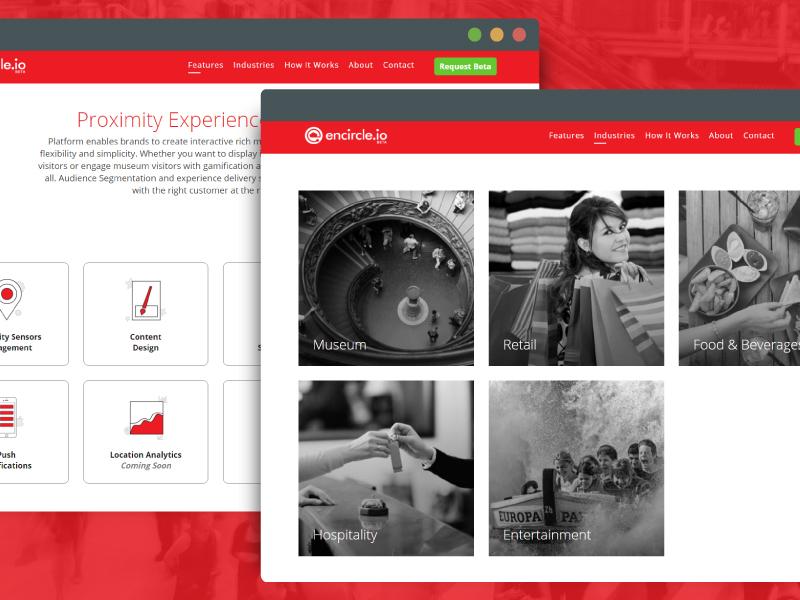 Encircle.io Features & Industries Page design website proximity platform ux ui icon platform product web app encircleio