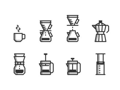 obligatory coffee icons illustration pictograms icon set iconography icons