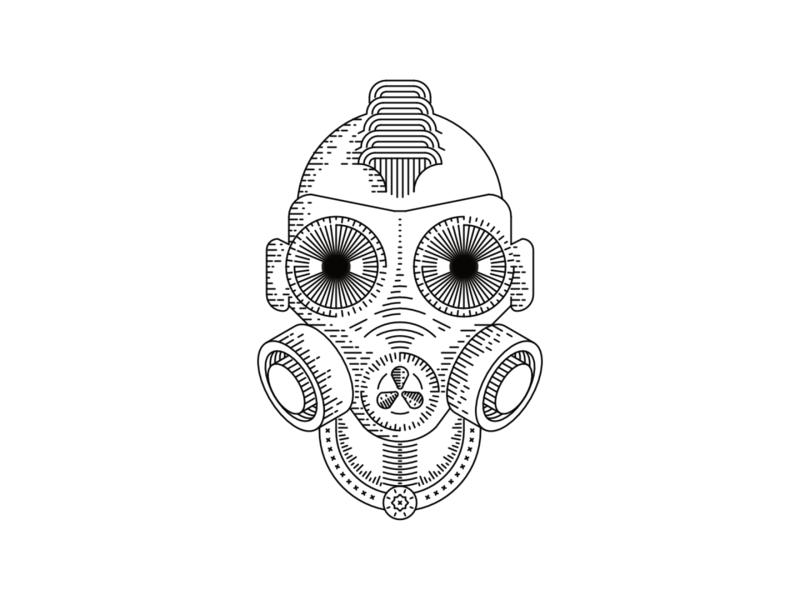 Anarchist 2d icon graffiti gas intricate minimal line illustration line art lineart design mask illustration anarchy