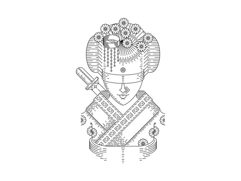 Comfort japan geisha line work line art art graphic design design illustration