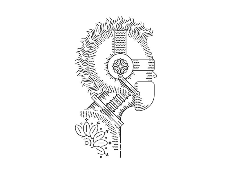 Bionic mohawk mask anarchy line lineart line art illustrations illustration