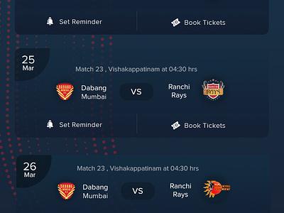 Fixtures - Hockey App ux ui hockey app ticket booking standing schedule