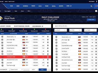 IPL Fantasy League 2017 league responsive sports web fantasy ipl ux ui