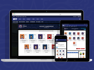 IPL Fantasy League 2017 league responsive sports web fantasy ipl ux ui