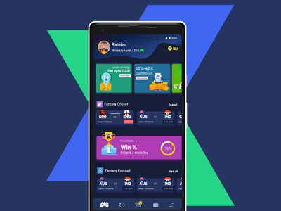 Dashboard - LeagueX App soccer xd illustration design cricket sports fantasy clean app ux ui