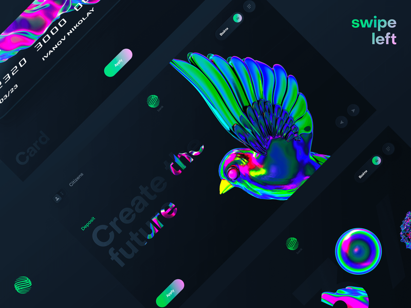 Digital bank concept render 3d site adaptive website design interface clean ux concept ui