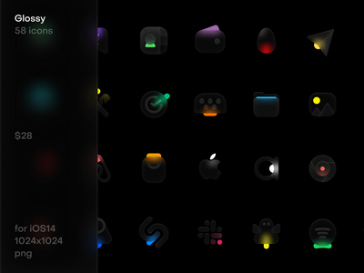 Glossy icons for iOS14 glass icon design ios trendy interface illustration blur icon set icons design ui