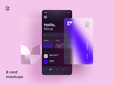 Glossy Bank Card Kit for Figma illustration mockup