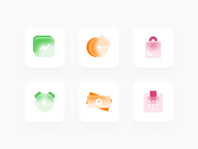 Glossy66 icons glass icon set vector e-commerce status ui icons general glossy media communication finance figma
