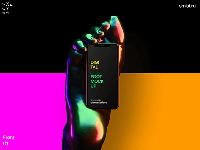 Figma iphone in foot mockup illustration interface ui c4d render iphone design figma mockup