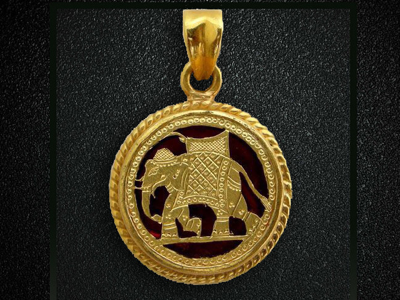 Thewa Art Elephant Drawing in Gold