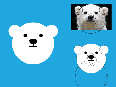Polar bear fill head grid geometric fluffy cute bear animal