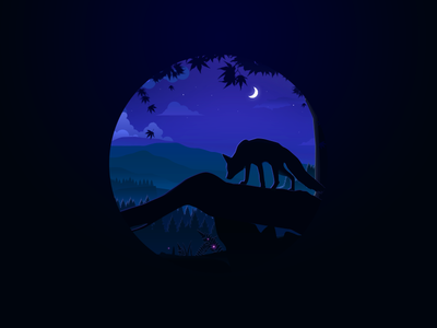 The night of forest wolf ui tree sky night nature mountain moon illustration hill forest