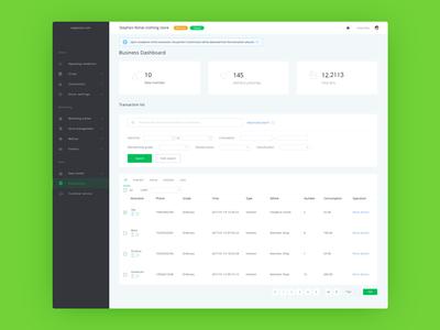 Business Dashboard  web ux user ui interface dashboard crm clean app analytics