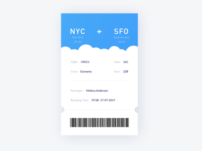 Boarding Pass cloud ux ui travel tickets plane ios fantasy exploration color boardingpass airlines