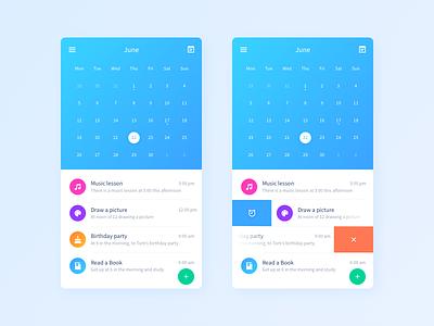 Calendar UI events time ui mobile ios event color calendar app