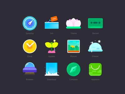 Icons speedup update compass appstore theme phone download browser picture sos record clock