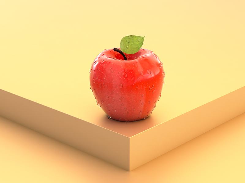 Apple sky apple try practice render 3d c4d