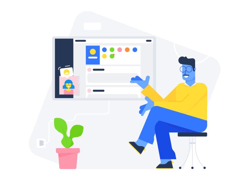 Customer stories flat character illustration
