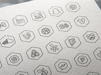 Free Hexagon Icon Set print illustration design media social hexagon icon vector