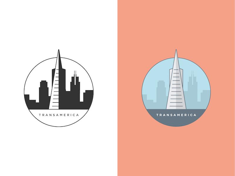 Transamerica drawing illustration landmark ca sf california san francisco skyscraper tower transamerica
