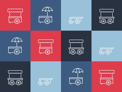 Hawker Icons salesperson seller items food wheels cart monger peddler hawker