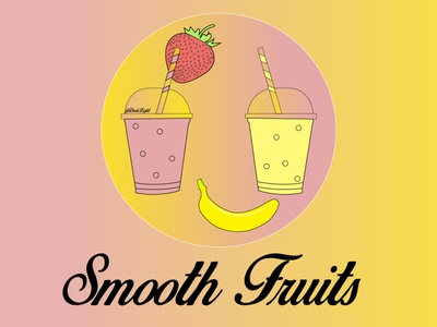 Juice or Smoothie Company, Smooth Fruits illustration logo