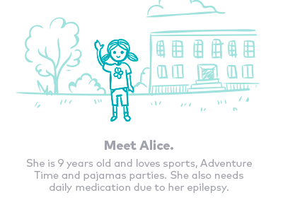 Meet Alice illustration storyboard handdrawn cute simple one color