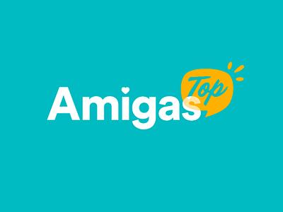 Amigas.Top feminine cute turquoise brand logo illustrator