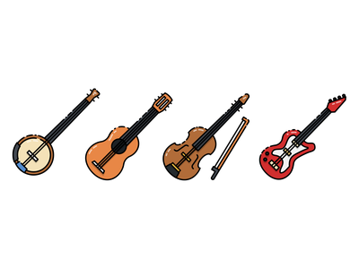 String Instrument Icon illustration music instrument electric guitar violin banjo guitar design vector icon
