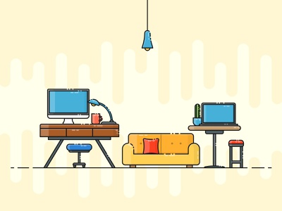Working Space cactus outlines outline desk chair imac sofa laptop interior design workplace interior living room