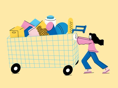 Bulk shopping food shopping cart crisis bulk shopping shopping illustration