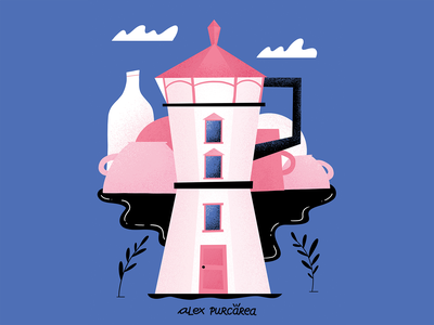 Moka pot Lighthouse illustration specialty coffee landscape lighthouse moka pot specialty coffee