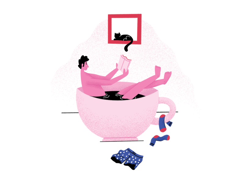 Coffee Bath people chill illustration reading bath specialty coffee coffee