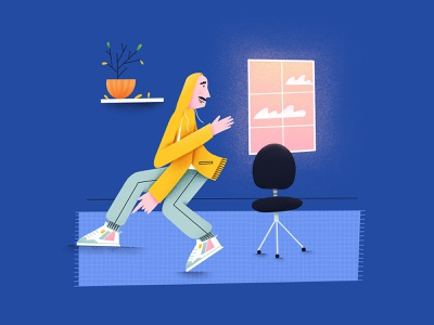Spontaneous dance break illustration character design procreate break work at home human people weird pose dancer music dance illustration art