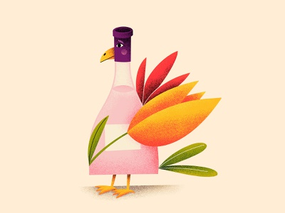 Heralds of Spring - part two imagination texture cute procreate nature concept bloom creative spring bottle wine flower tulip bird illustration art illustration