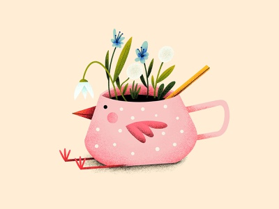Coffee bird - Heralds of Spring illustration illustration art nature coffee bird spring flowers coffee cup imagination creative creativity cute pink bloom procreate children illustration