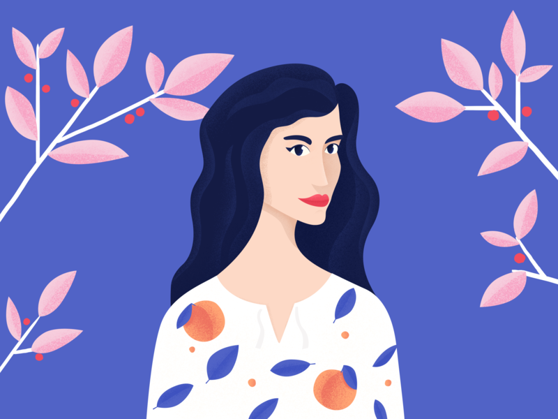 Madam Spring lady girl fruit trees blooming spring woman portrait illustration