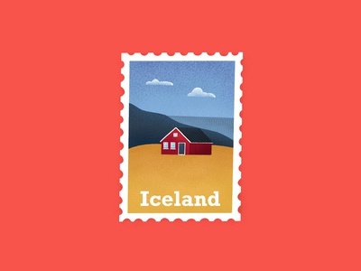 Iceland stamp procreate stamp design weekly challenge weekly warmup postage house landscape nature iceland stamp illustration art illustration