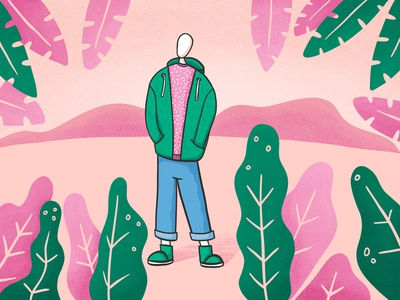 Cool dude procreate hoodie nature green pink guy dude cool dude illustration art illustration