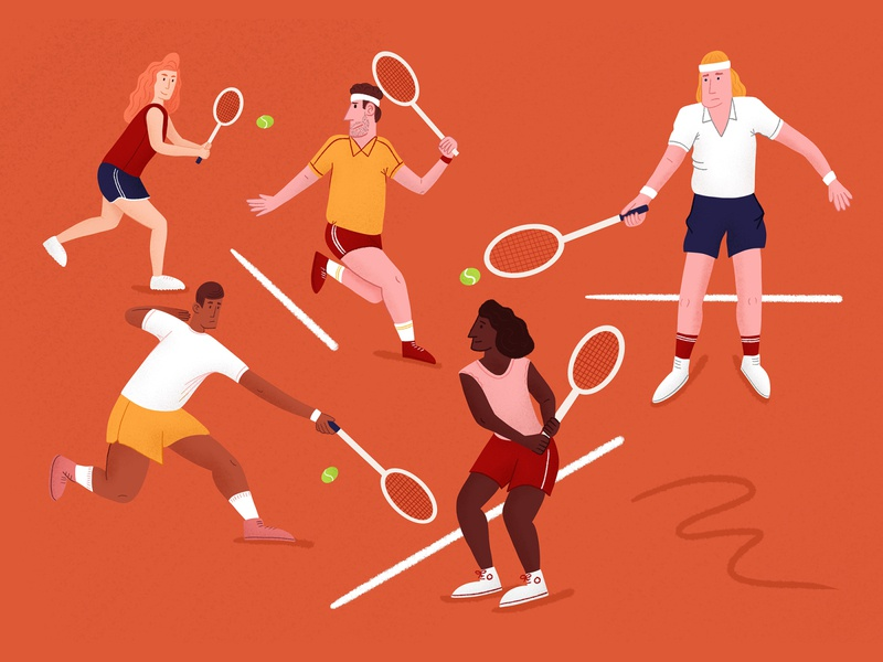 Tennis players tennis ball illustration art dynamic action 1980s vintage illustration procreate tom froese oddbodies tennis player tennis