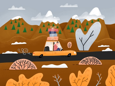 One-way trip nature children illustration roadtrip illustration art illustration snow winter mountains cartoon luggage car trip