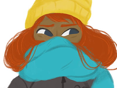 Girl #2 beanie scarf winter jacket cold woman photoshop brush illustration girl