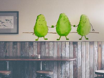 Avocado Dancing character jolly happy healthy mural wall painting dancing avocado
