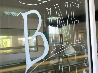 Pastry Shop Lettering - WIP acrylic window pastry letter lettering wip work in progress