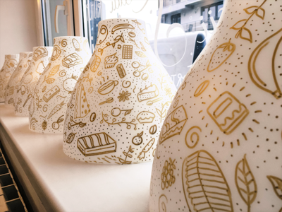 Devava Ikea Lamps Pattern gold marker posca sweets fruits cookie pastry cofetarie pastry shop devava pattern ikea