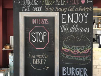 South Burger Chalk Lettering Wall wall art wall design chalk wall wall letters delicious enjoy chalk lettering lettering chalk burger south burger