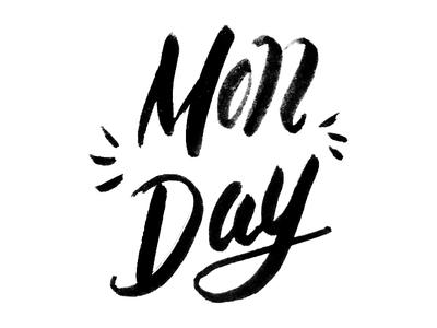Monday Lettering Logo black pen brush pen letters logo lettering monday